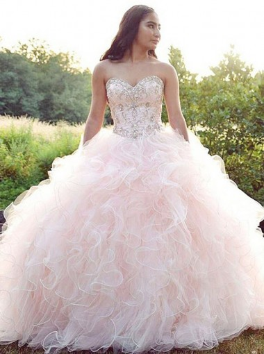 Ball Gown Sweetheart Pink Tulle Quinceanera Dress with Beading