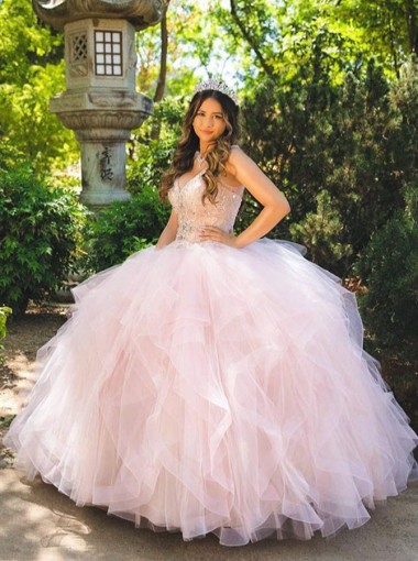 Ball Gown Spaghetti Straps Pink Quinceanera Dress with Beading