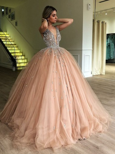 Ball Gown Deep V-Neck Low Cut Champagne Quinceanera Dress with Beading