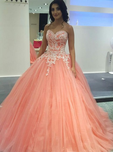 Ball Gown Sweetheart Coral Tulle Quinceanera Prom Dress with Appliques