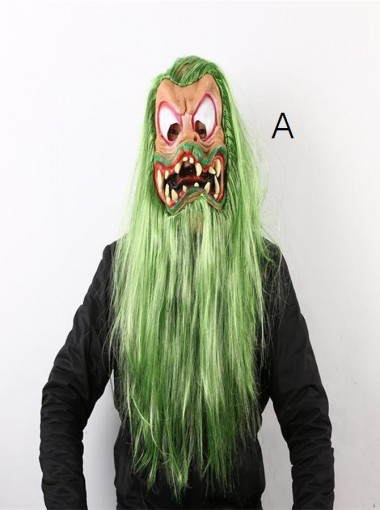 Horror Ghost Mask Old Face Toothy Long Hair