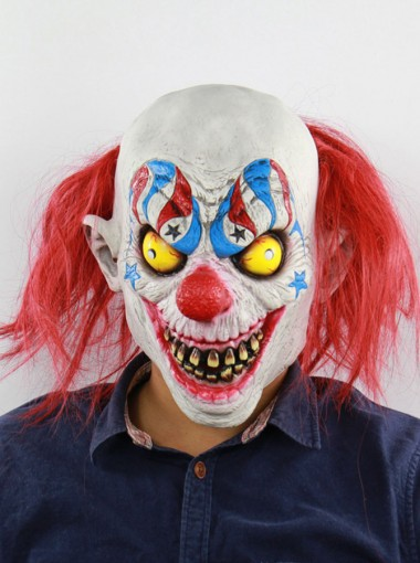 Red Hair Terrific Toothy Latex Clown Full Mask Halloween Party