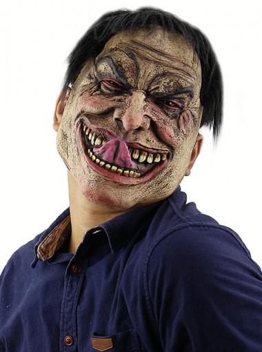 Creepy Halloween Masks Latex Face Halloween Mask with Black Hair