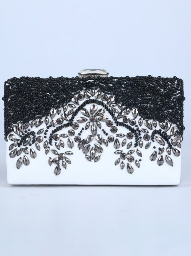 Black and White Beaded Box Chain Clutch