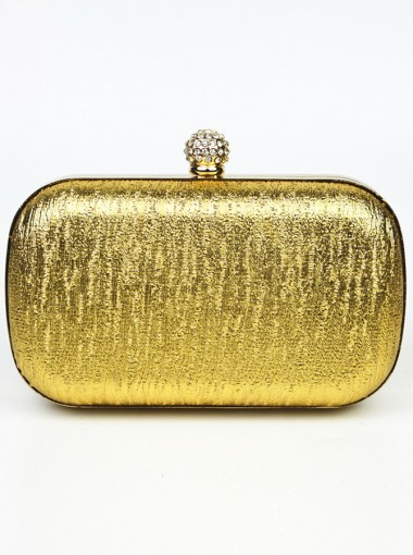 Gold Closure Box Drop in Chain Clutch