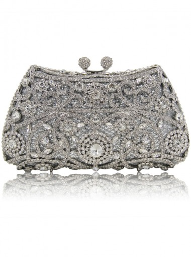 Luxury Silver Beaded Crystal Drop in Chain Clutch