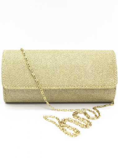 Champagne Button Closure Solid Chain Clutch Bag
