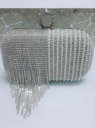 Luxury Silver Beaded Fringe Pearl Box Clutch