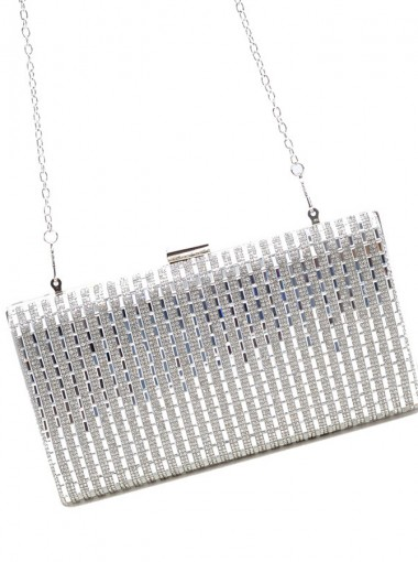 Silver Beaded Single-Shoulder Chain Clutch
