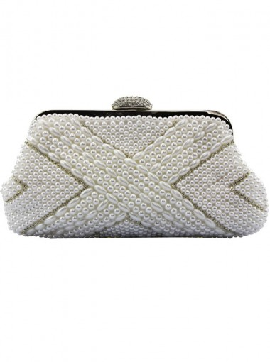 White Closure Pearl Soft Frame Clutch