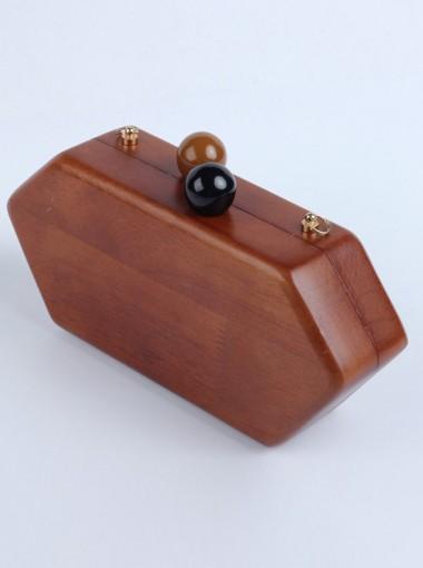 Brown Closure Wood Chain Box Single-Shoulder Bags