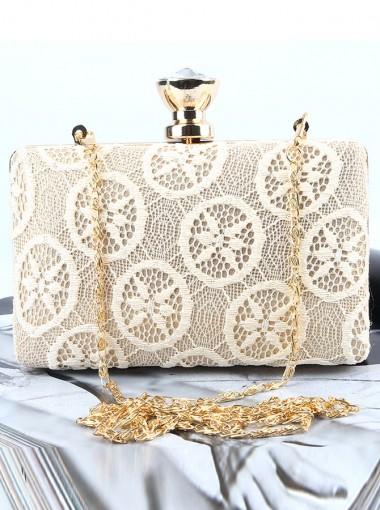White Closure Lace Single-Shoulder Clutch Bag