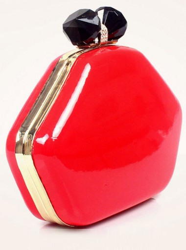 Red Bowknot Closure Solid Box Chain Clutch