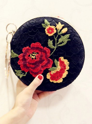 Detachable Strap Black Embroidery Clutch Bag