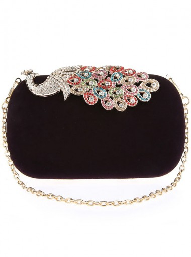 Detachable Chain Strap Black Clutch Bag