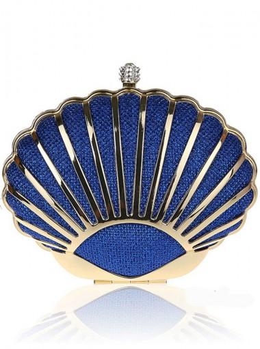 Chain Strap Shell Shape Royal Blue Clutch Bag