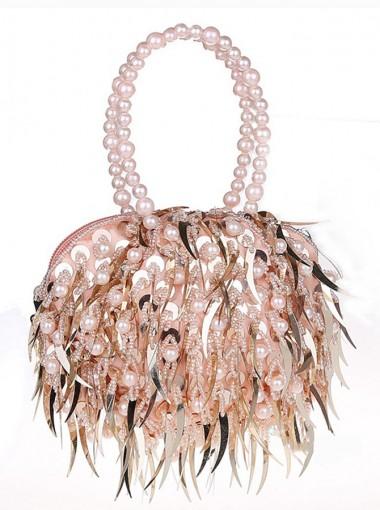 Pink Handbag with Imitation Pearls Beading