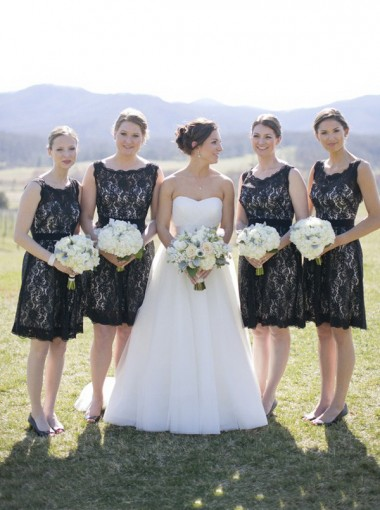 Simple & Hot Scoop Open Back Lace Black Short Bridesmaid Dresses LAND-70946