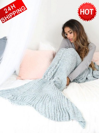 Super Soft Hand Crocheted Grey Mermaid Tail Blanket Sofa Blanket