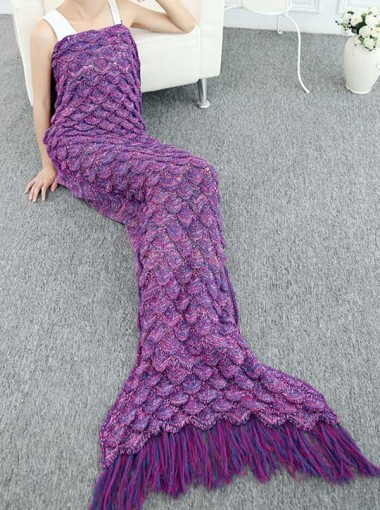 New Style Blue / Purple Knitted Soft Blanket Mermaid Tail Blanket with Tassel