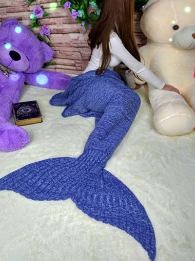 Blue / Red Knitted Mermaid Tail Blanket Sofa Blanket