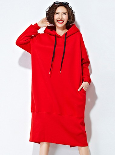 Red Solid Cotton Plus Size Pullover Hooded Sweatshirt Dress