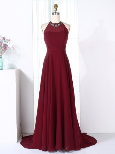 A-Line Halter Sweep Train Burgundy Chiffon Bridesmaid Dress with Beading
