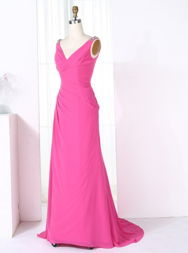 Sheath V-Neck Sweep Train Fuchsia Chiffon Bridesmaid Dress with Beading