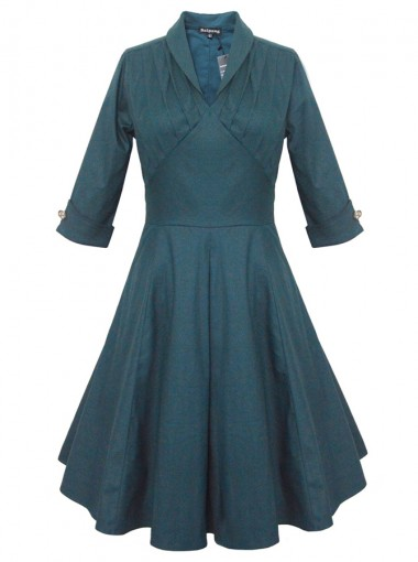 Lapel Dark Green 50s Lapel 3/4 Sleeves Ruched Retro Dress