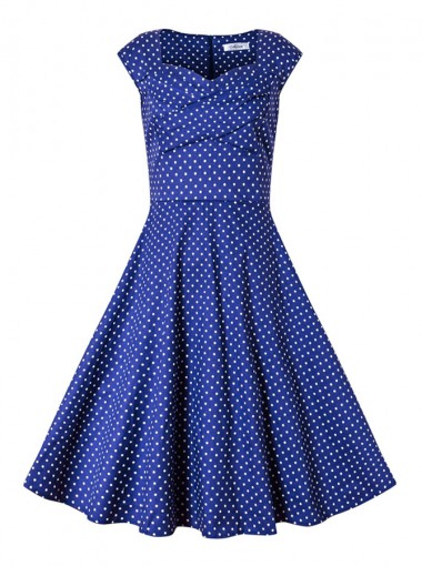 Vintage Style Square Neck Royal Blue Polka Dots Dress for Women