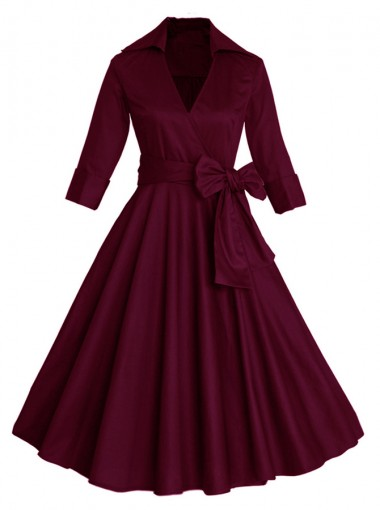 Burgundy Lapel Cotton Solid Swing Party Vintage Dress with Sleeves