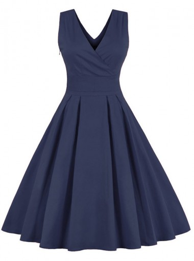 50s Navy Blue V-neck Pure Color Vintage Swing Party Dress
