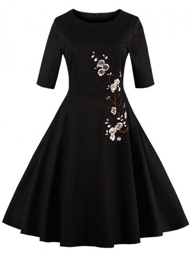 50s Black Embroidery Half Sleeves Vintage Style Dress