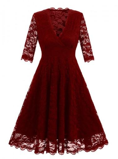 Lace V-Neck Burgundy Vintage Cocktail Swing Dress