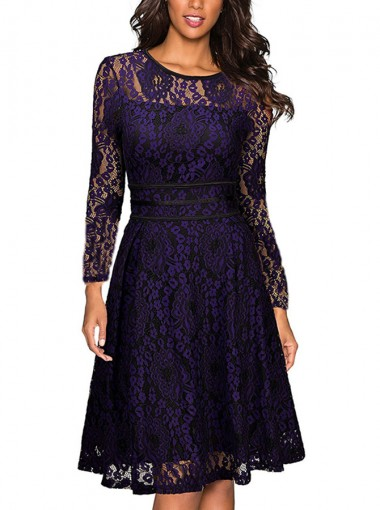 Lace Round Neck Long Sleeves Purple Vintage Prom Dress