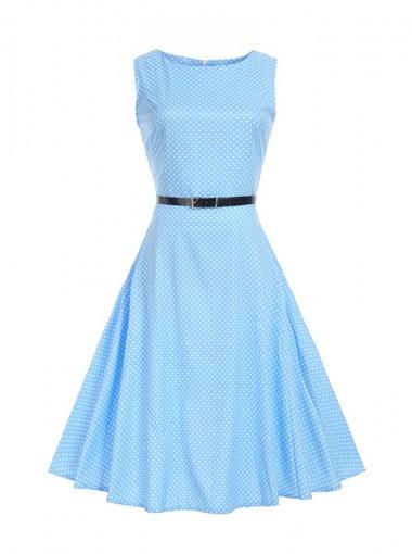 Polka Dots Round Neck Blue 50S Vintage Dress