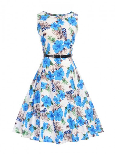 A-Line Floral Round Neck Multi Color Vintage Dress