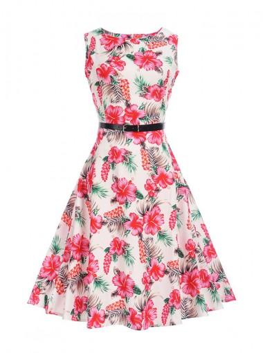 Floral A-Line Round Neck Pink Vintage Swing Dress