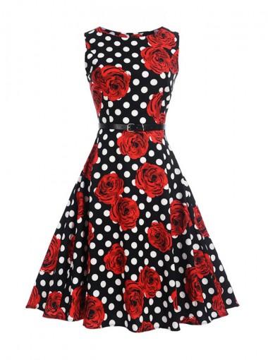 Floral Polka Dots Round Neck Black and Red Vintage Dress