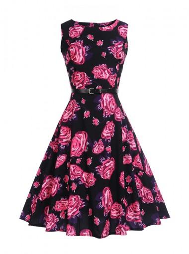 Vintage Floral A-Line Round Neck Multi Color Swing Dress