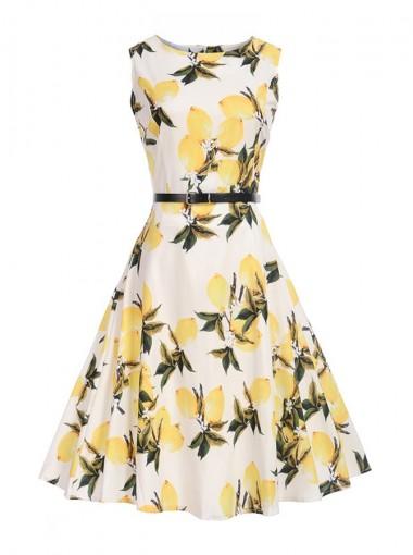 Vintage Round Neck Print Yellow 50S Style Sundress