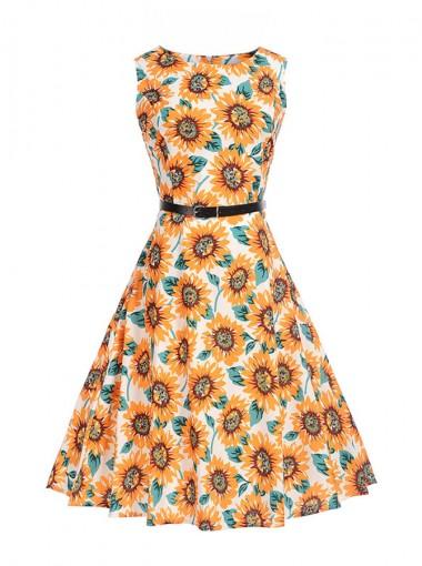 Vintage A-Line Round Neck Floral Orange Sundress