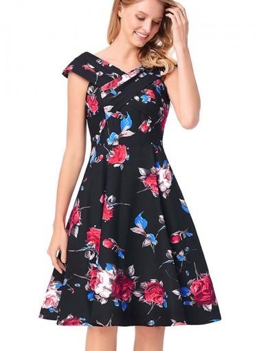 A-Line Off the Shoulder Floral Black Vintage Dress
