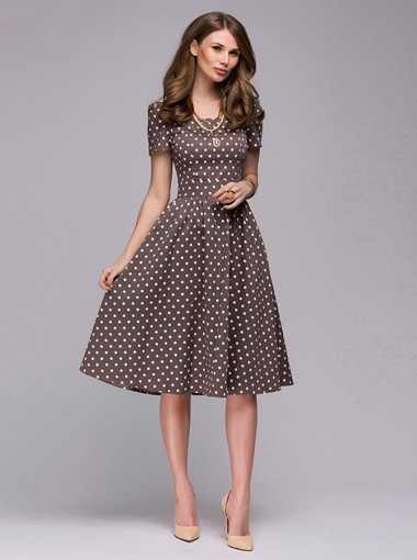 Polka Dots Round Neck Short Sleeves Brown Vintage Dress
