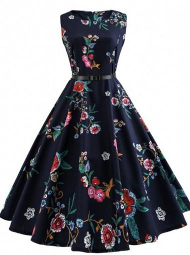 Vintage Floral Round Neck Sash Navy Blue Swing Dress