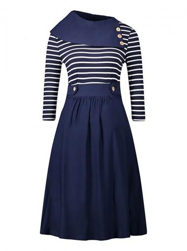 Stripes Asymmetrical Neck Patchwork Vintage Swing Dress