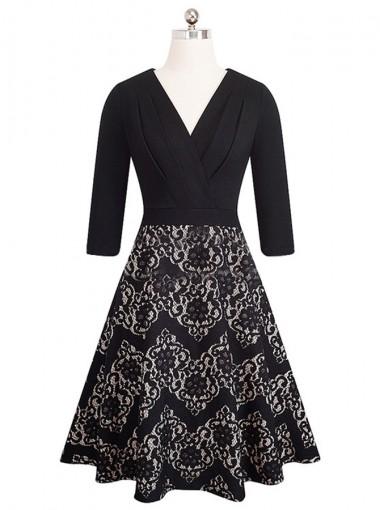 Lace Patchwork V-Neck Black Vintage Party Dress