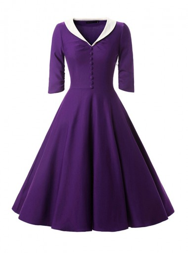 Vintage V-Neck Half Button Purple 50S Style Dress