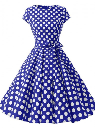 Bow Polka Dots Round Neck Royal Blue Vintage Dress