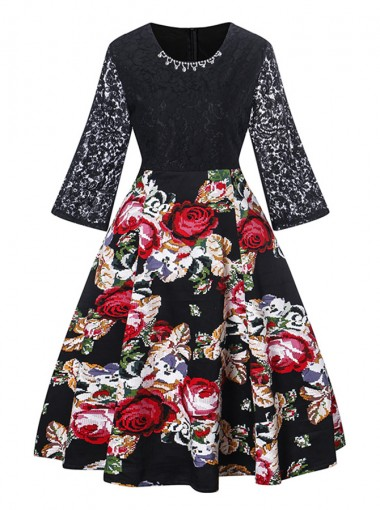 Lace Floral Patchwork Round Neck Black Vintage Dress